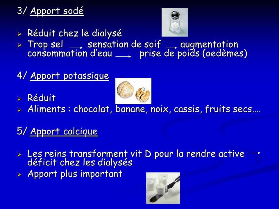 3/ Apport sodé Réduit chez le dialysé Réduit chez le dialysé Trop sel sensation de soif augmentation consommation deau prise de poids (oedèmes) Trop s