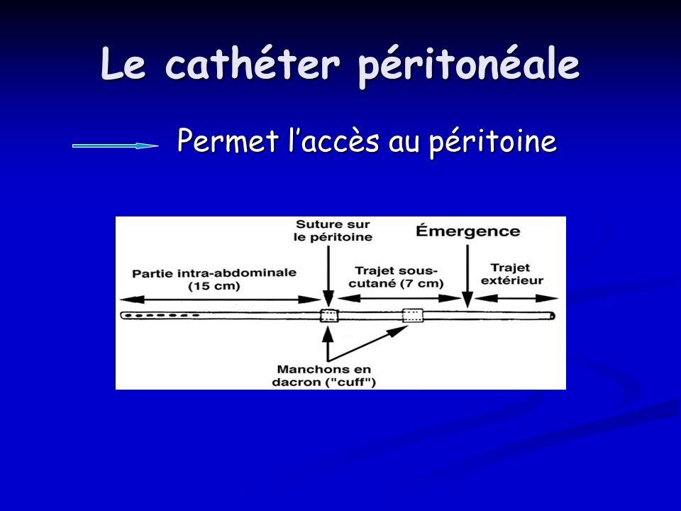 Le cathéter péritonéale Permet laccès au péritoine