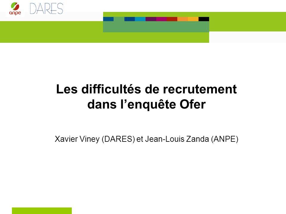 Les difficultés de recrutement dans lenquête Ofer Xavier Viney (DARES) et Jean-Louis Zanda (ANPE)