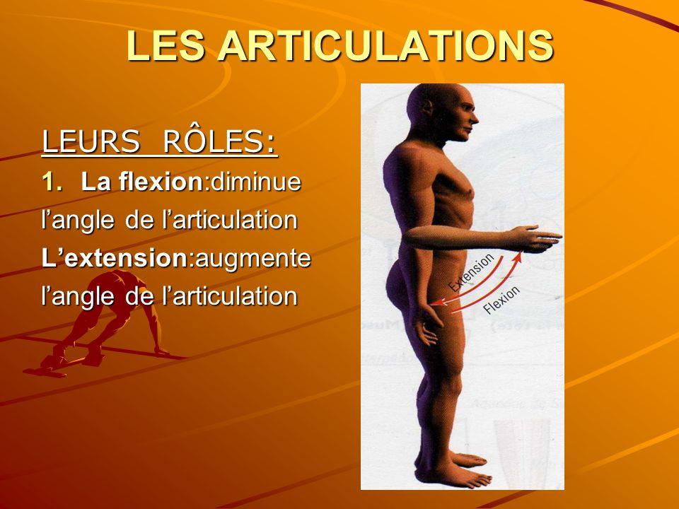 LES ARTICULATIONS LEURS RÔLES: 1.La flexion:diminue langle de larticulation Lextension:augmente langle de larticulation
