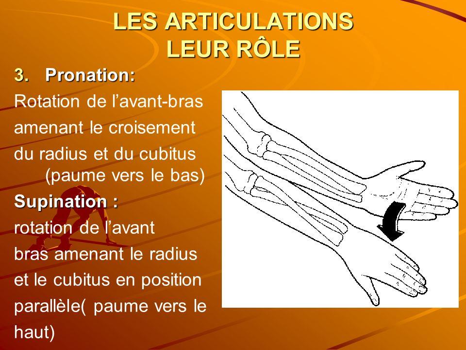 LES ARTICULATIONS LEUR RÔLE 3.Pronation: Rotation de lavant-bras amenant le croisement du radius et du cubitus (paume vers le bas) Supination : rotati