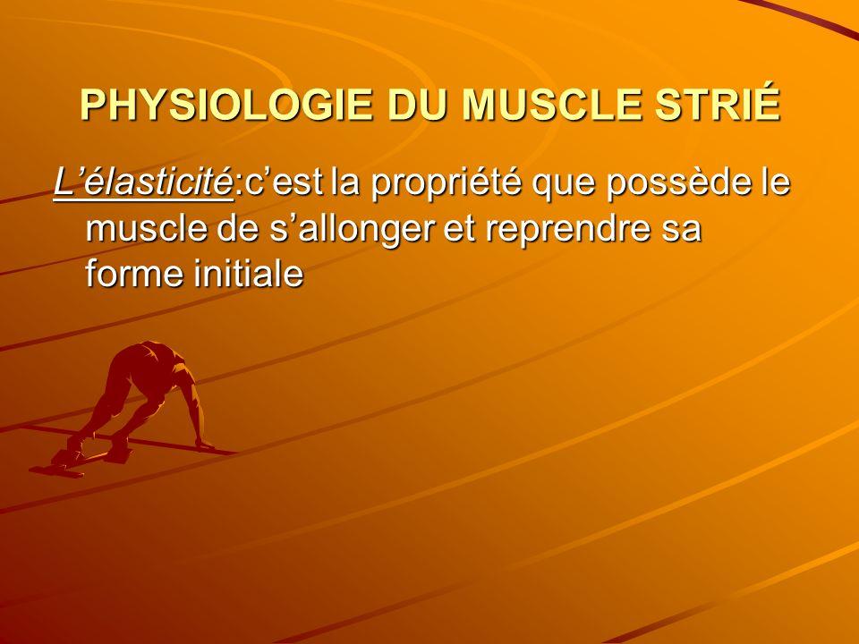 PHYSIOLOGIE DU MUSCLE STRIÉ Lélasticité:cest la propriété que possède le muscle de sallonger et reprendre sa forme initiale