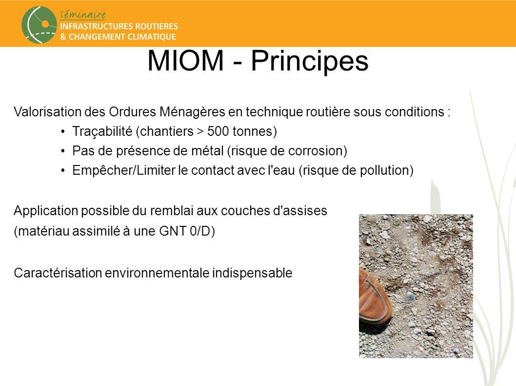 MIOM - Principes Valorisation des Ordures Ménagères en technique routière sous conditions : Traçabilité (chantiers > 500 tonnes) Pas de présence de mé