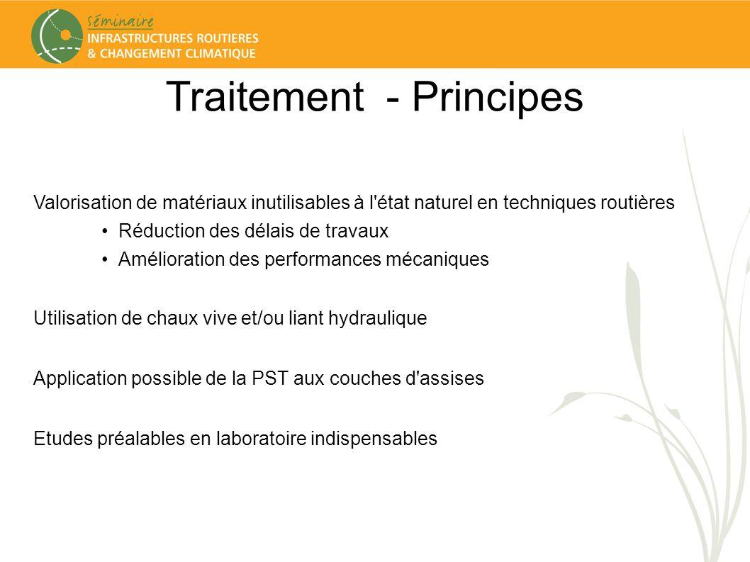 Traitement - Principes Valorisation de matériaux inutilisables à l'état naturel en techniques routières Réduction des délais de travaux Amélioration d