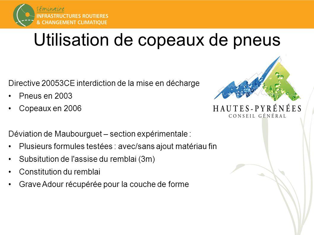 Utilisation de copeaux de pneus Directive 20053CE interdiction de la mise en décharge Pneus en 2003 Copeaux en 2006 Déviation de Maubourguet – section