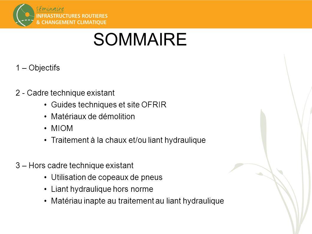 SOMMAIRE 1 – Objectifs 2 - Cadre technique existant Guides techniques et site OFRIR Matériaux de démolition MIOM Traitement à la chaux et/ou liant hyd