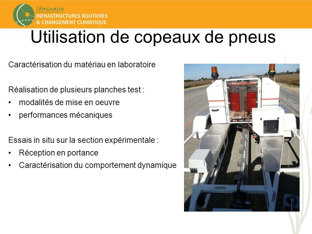 Utilisation de copeaux de pneus Caractérisation du matériau en laboratoire Réalisation de plusieurs planches test : modalités de mise en oeuvre perfor