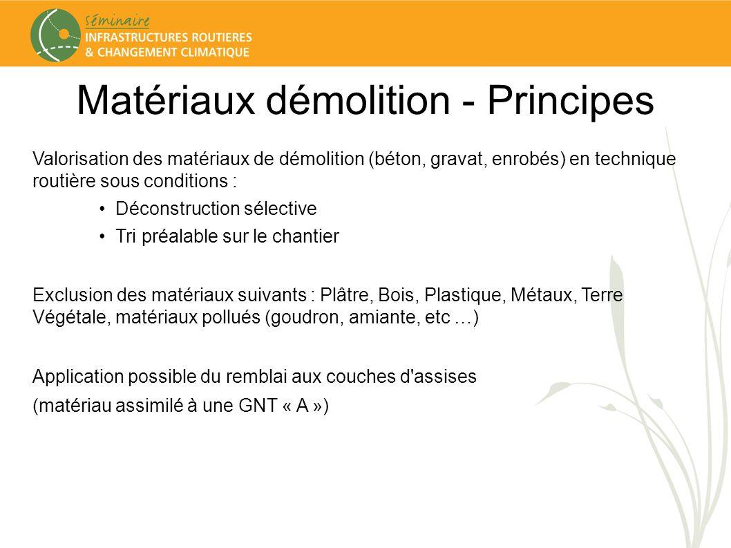 Matériaux dém - Cadre technique Référentiels normatifs Remblai, couche de forme (classé F71 ou F72) NF EN 13 285 (mai 2004) GNT : Spécifications XP P18-545 (mars 2008) Granulats : Eléments de définition, conformité et codification