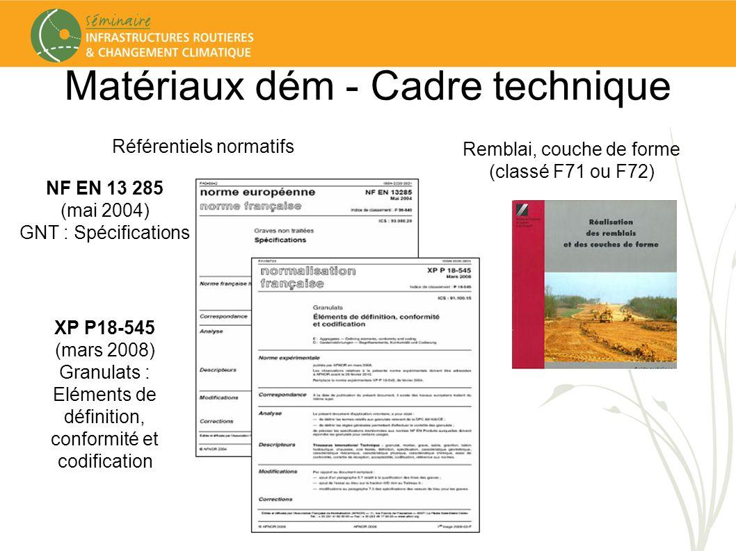 Matériaux dém - Cadre technique Référentiels normatifs Remblai, couche de forme (classé F71 ou F72) NF EN 13 285 (mai 2004) GNT : Spécifications XP P1