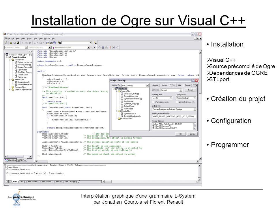 Interprétation graphique d'une grammaire L-System par Jonathan Courtois et Florent Renault Installation de Ogre sur Visual C++ Installation Visual C++