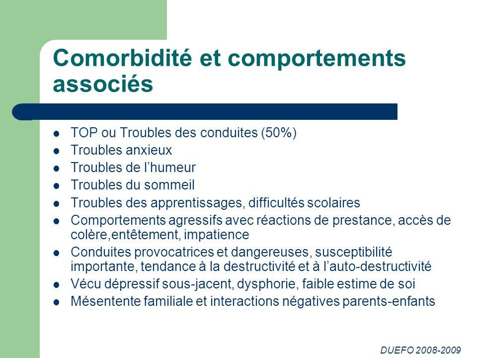 DUEFO 2008-2009 Comorbidité et comportements associés TOP ou Troubles des conduites (50%) Troubles anxieux Troubles de lhumeur Troubles du sommeil Tro