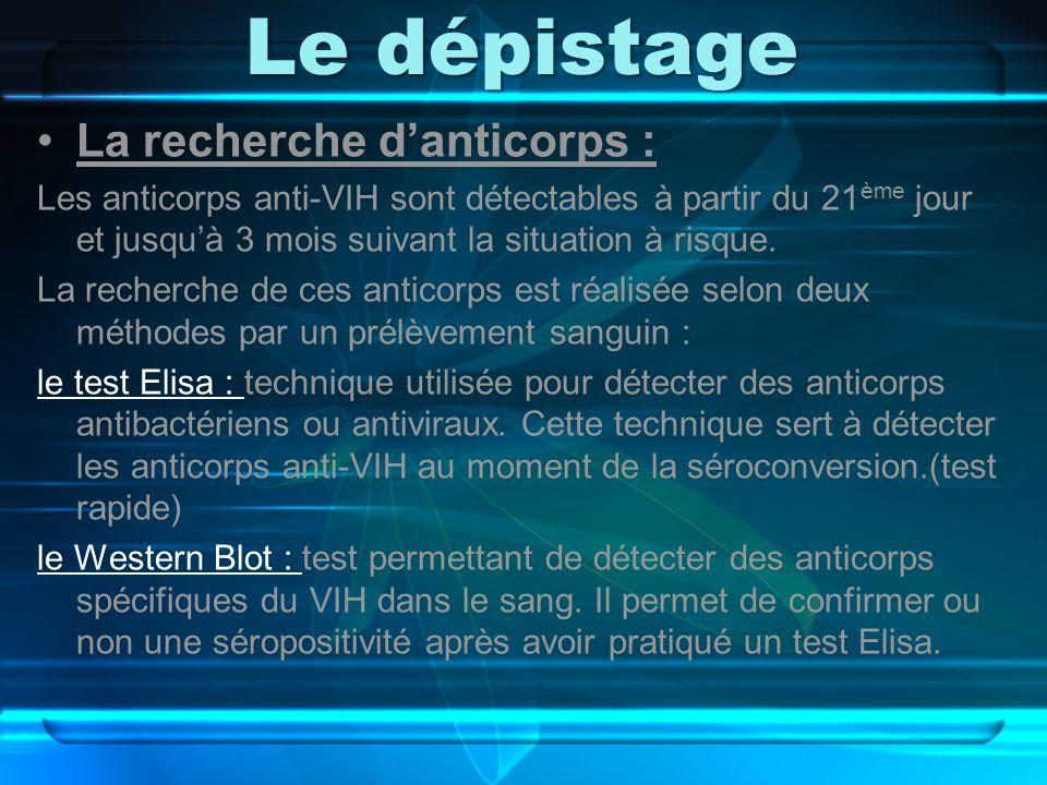 Le dépistage La recherche danticorps : Les anticorps anti-VIH sont détectables à partir du 21 ème jour et jusquà 3 mois suivant la situation à risque.