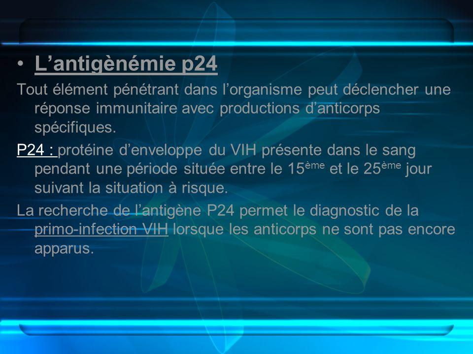 Lantigènémie p24 Tout élément pénétrant dans lorganisme peut déclencher une réponse immunitaire avec productions danticorps spécifiques. P24 : protéin