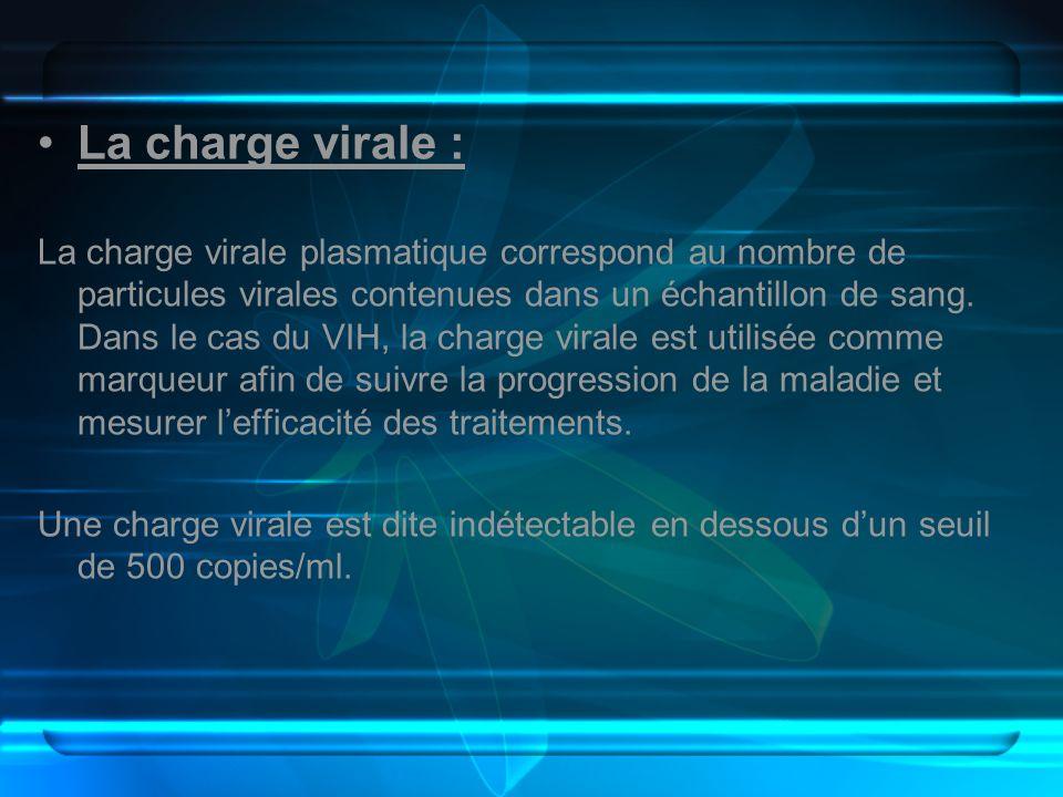 La charge virale : La charge virale plasmatique correspond au nombre de particules virales contenues dans un échantillon de sang. Dans le cas du VIH,