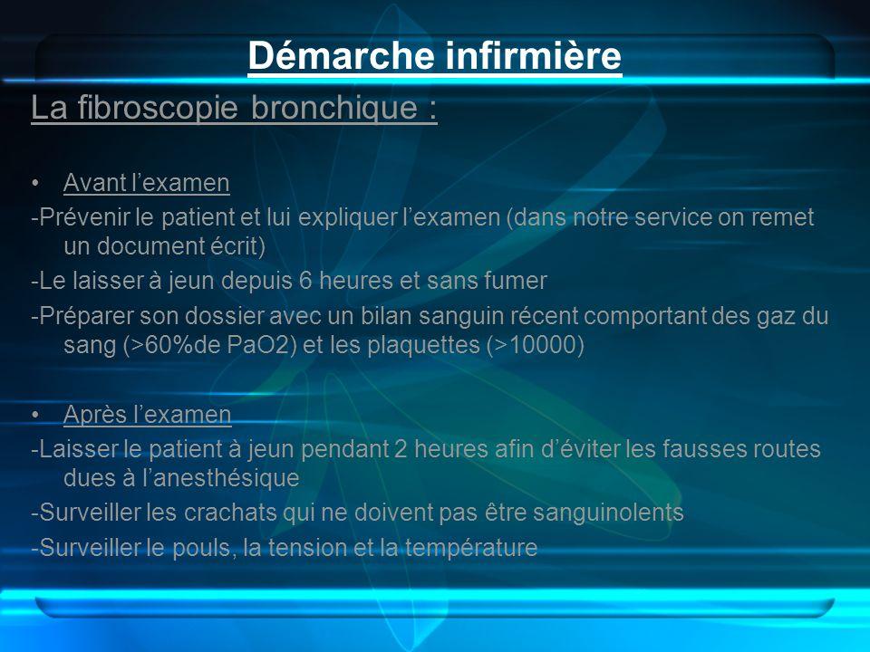 Démarche infirmière La fibroscopie bronchique : Avant lexamen -Prévenir le patient et lui expliquer lexamen (dans notre service on remet un document é