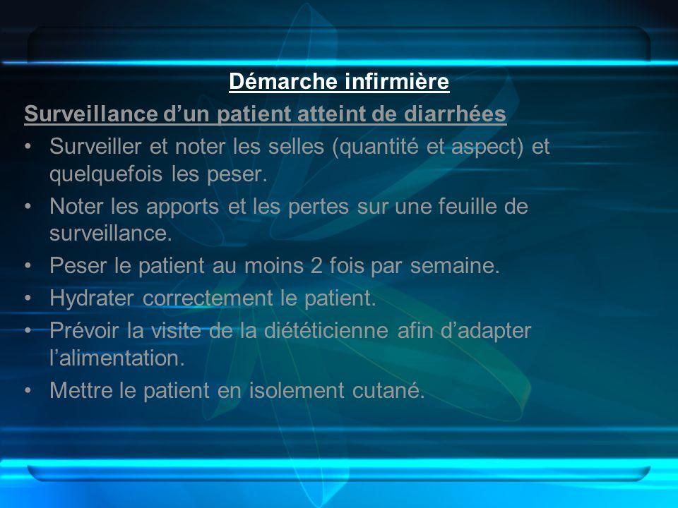 Démarche infirmière Surveillance dun patient atteint de diarrhées Surveiller et noter les selles (quantité et aspect) et quelquefois les peser. Noter