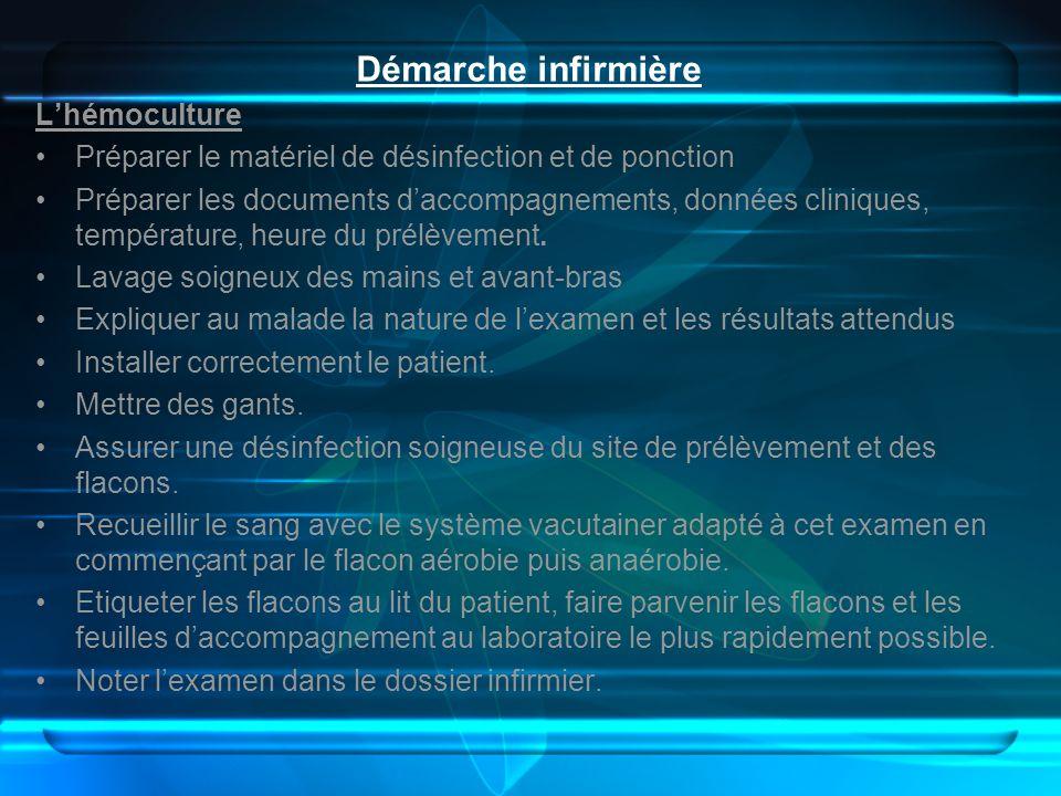 Démarche infirmière Lhémoculture Préparer le matériel de désinfection et de ponction Préparer les documents daccompagnements, données cliniques, tempé