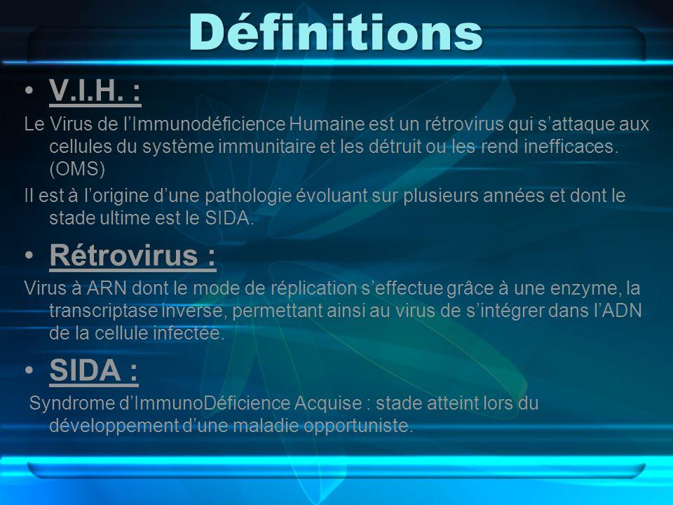 Définitions V.I.H. : Le Virus de lImmunodéficience Humaine est un rétrovirus qui sattaque aux cellules du système immunitaire et les détruit ou les re