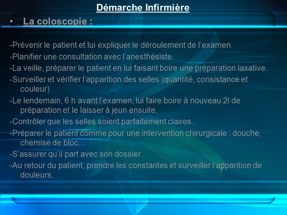 Démarche Infirmière La coloscopie : -Prévenir le patient et lui expliquer le déroulement de lexamen. -Planifier une consultation avec lanesthésiste. -
