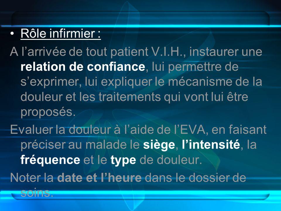 Rôle infirmier : A larrivée de tout patient V.I.H., instaurer une relation de confiance, lui permettre de sexprimer, lui expliquer le mécanisme de la
