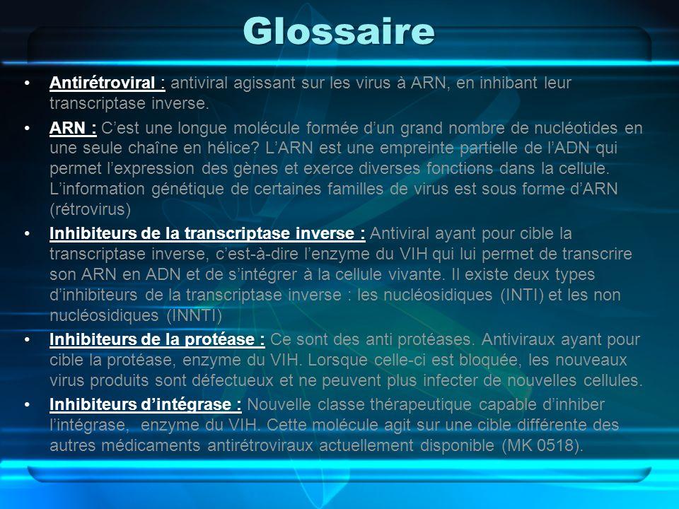 Glossaire Antirétroviral : antiviral agissant sur les virus à ARN, en inhibant leur transcriptase inverse. ARN : Cest une longue molécule formée dun g
