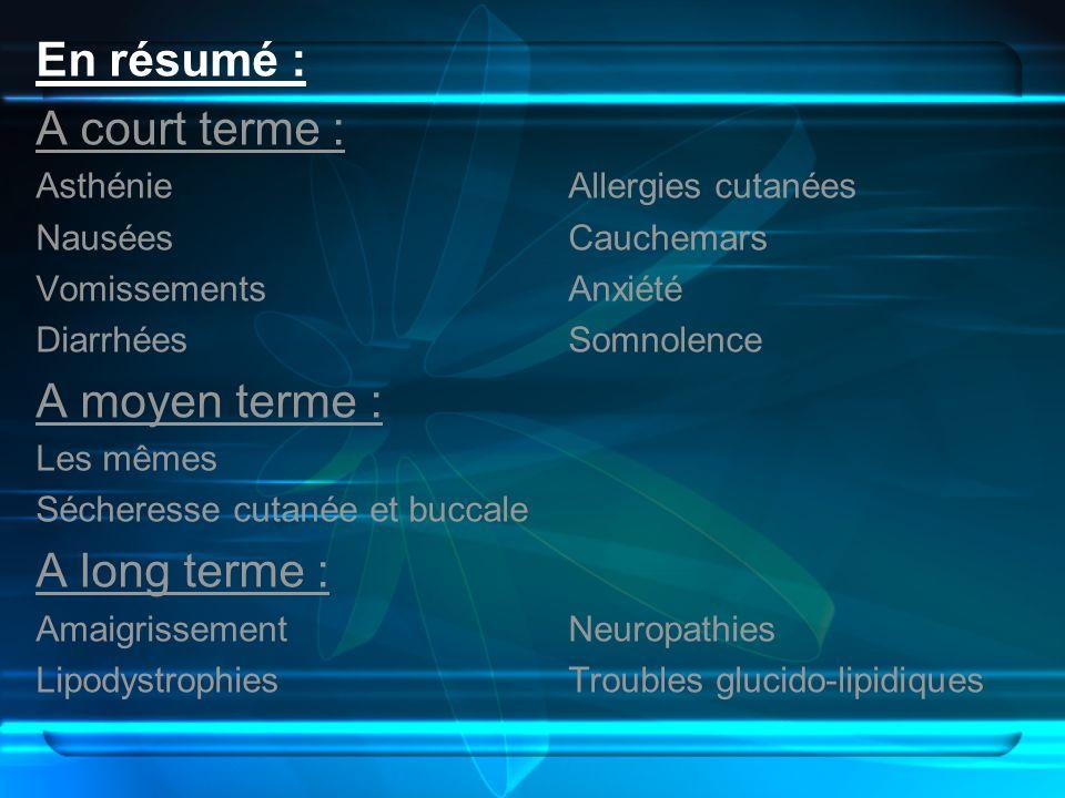 En résumé : A court terme : AsthénieAllergies cutanées NauséesCauchemars VomissementsAnxiété DiarrhéesSomnolence A moyen terme : Les mêmes Sécheresse