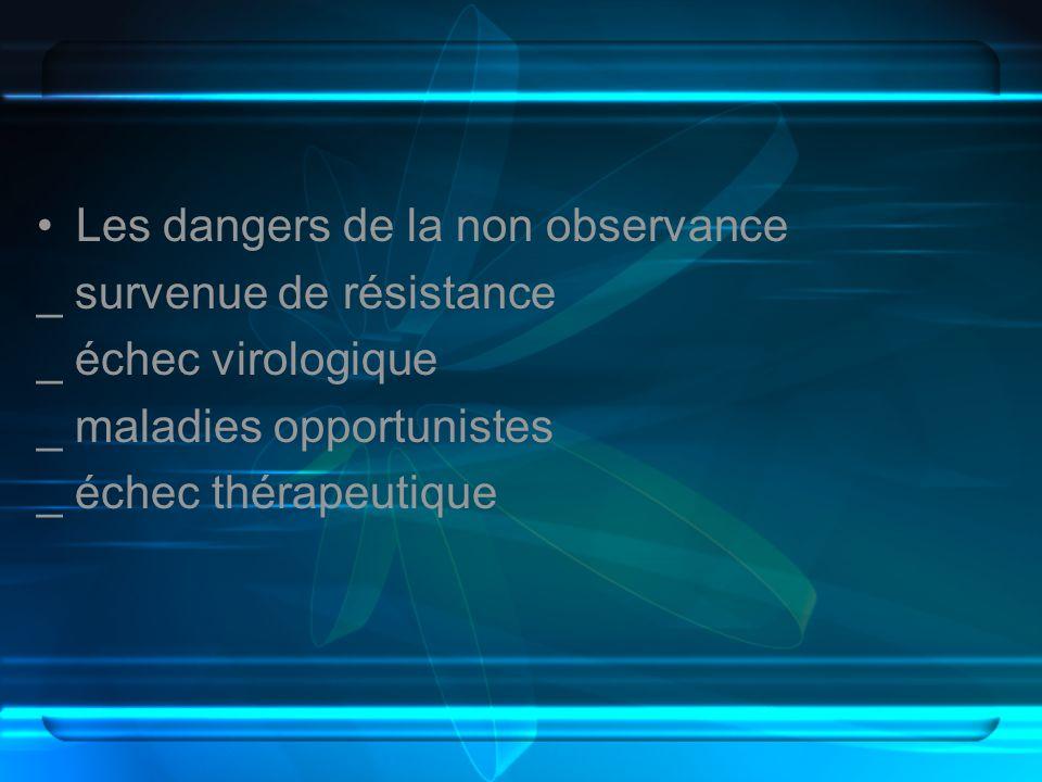 Les dangers de la non observance _ survenue de résistance _ échec virologique _ maladies opportunistes _ échec thérapeutique