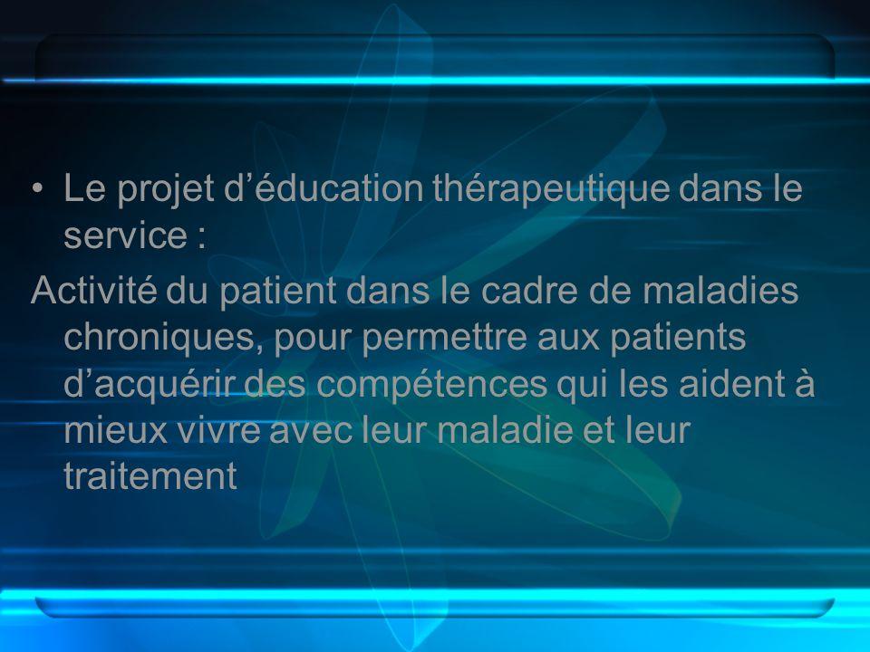 Le projet déducation thérapeutique dans le service : Activité du patient dans le cadre de maladies chroniques, pour permettre aux patients dacquérir d