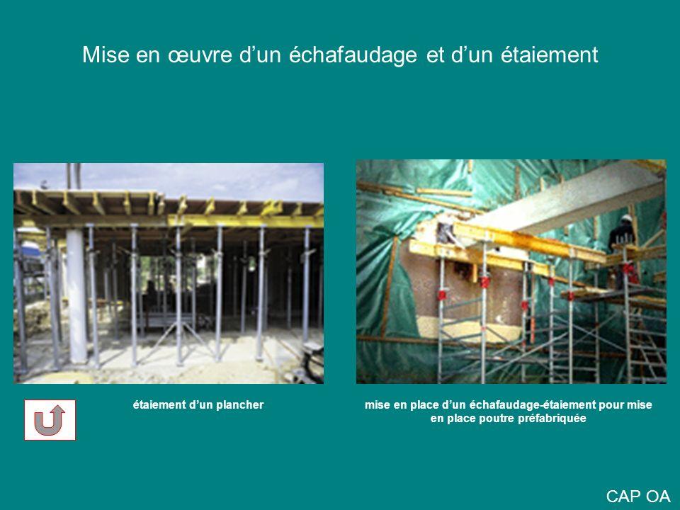 Mise en œuvre dun échafaudage et dun étaiement étaiement dun planchermise en place dun échafaudage-étaiement pour mise en place poutre préfabriquée CA