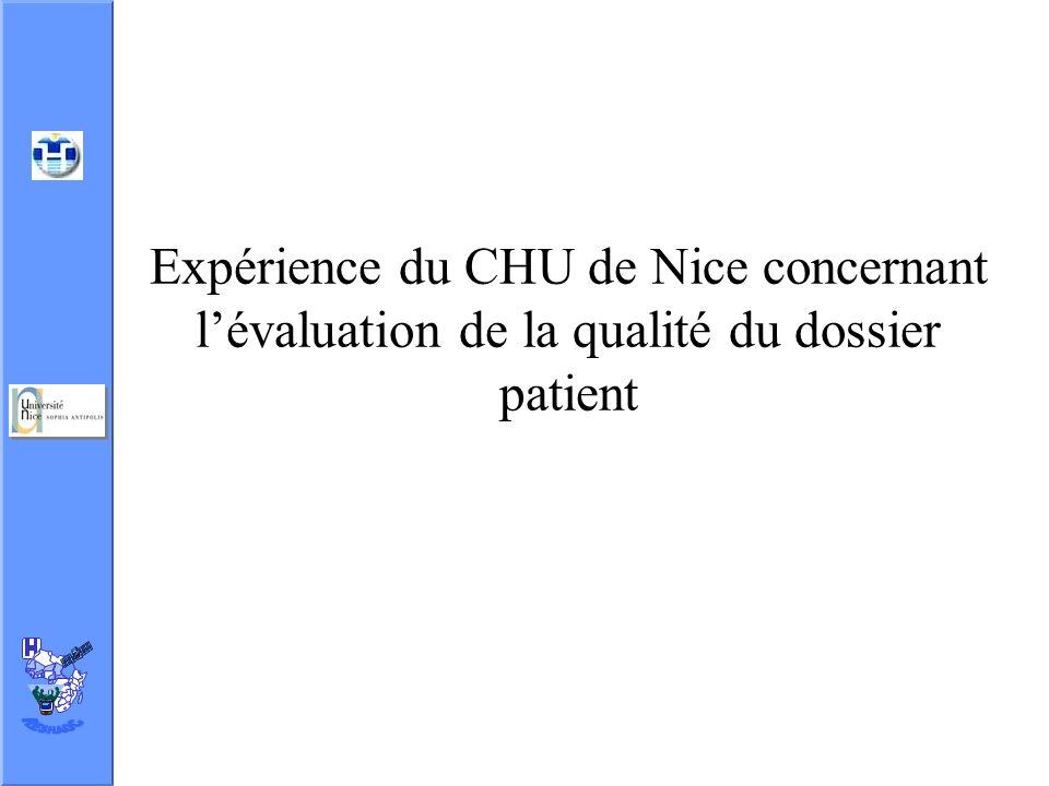 Expérience du CHU de Nice concernant lévaluation de la qualité du dossier patient
