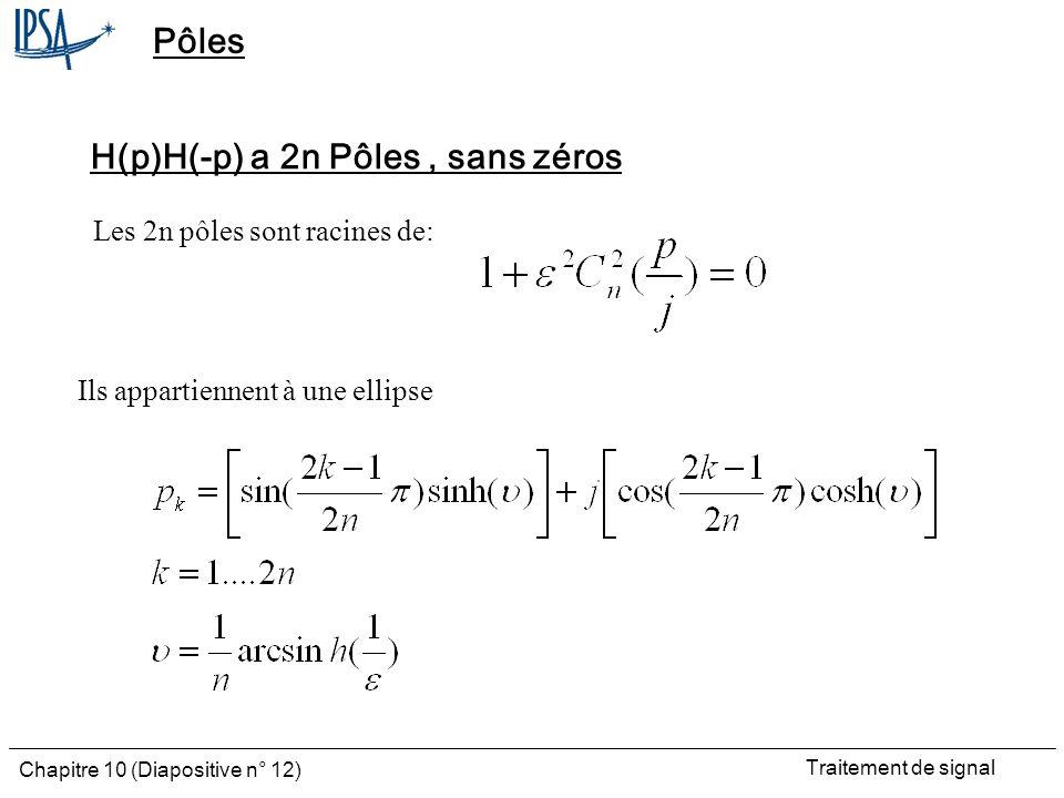 Traitement de signal Chapitre 10 (Diapositive n° 12) Pôles H(p)H(-p) a 2n Pôles, sans zéros Les 2n pôles sont racines de: Ils appartiennent à une elli