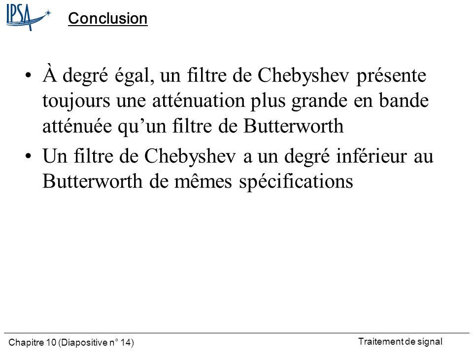 Traitement de signal Chapitre 10 (Diapositive n° 14) Conclusion À degré égal, un filtre de Chebyshev présente toujours une atténuation plus grande en
