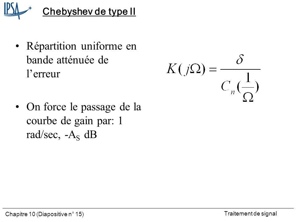 Traitement de signal Chapitre 10 (Diapositive n° 15) Chebyshev de type II Répartition uniforme en bande atténuée de lerreur On force le passage de la