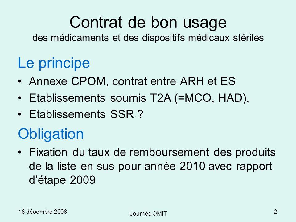 18 décembre 2008 Journée OMIT 2 Contrat de bon usage des médicaments et des dispositifs médicaux stériles Le principe Annexe CPOM, contrat entre ARH et ES Etablissements soumis T2A (=MCO, HAD), Etablissements SSR .