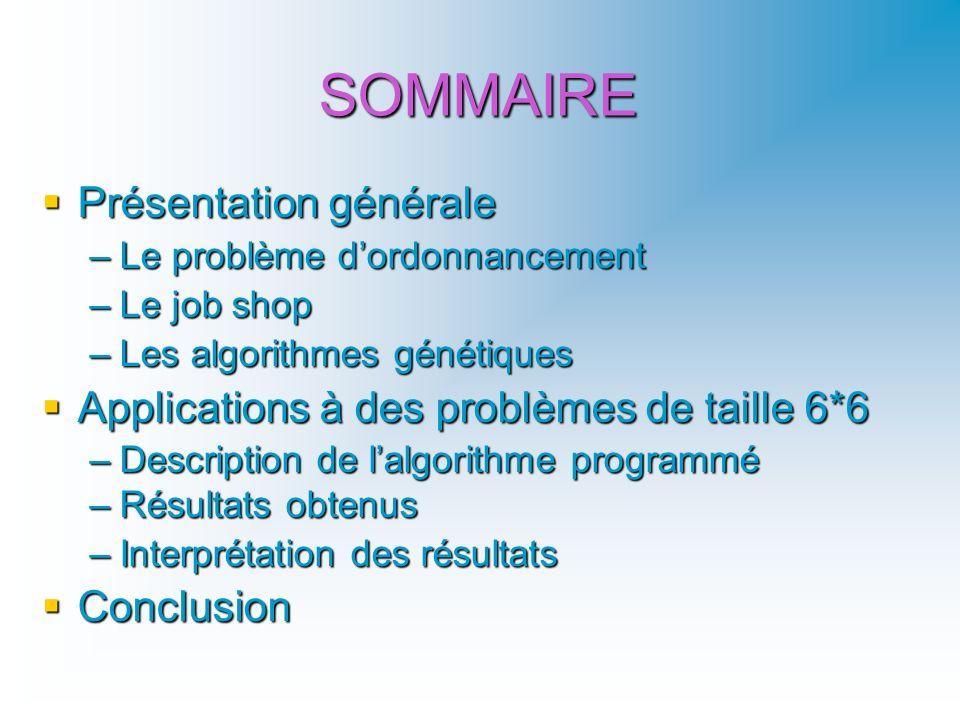 SOMMAIRE Présentation générale Présentation générale –Le problème dordonnancement –Le job shop –Les algorithmes génétiques Applications à des problème