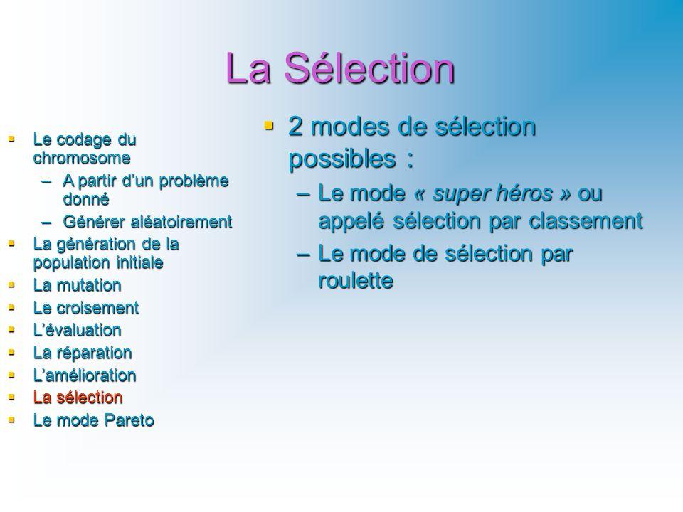 La Sélection 2 modes de sélection possibles : 2 modes de sélection possibles : –Le mode « super héros » ou appelé sélection par classement –Le mode de