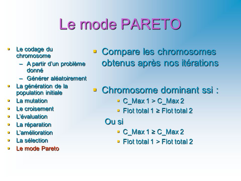 Le mode PARETO Compare les chromosomes obtenus après nos itérations Compare les chromosomes obtenus après nos itérations Chromosome dominant ssi : Chr