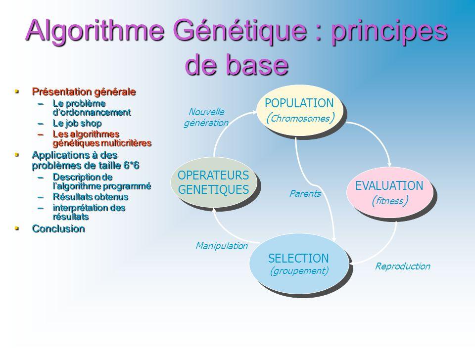 Algorithme Génétique : principes de base POPULATION ( Chromosomes ) POPULATION ( Chromosomes ) EVALUATION ( fitness ) EVALUATION ( fitness ) OPERATEUR