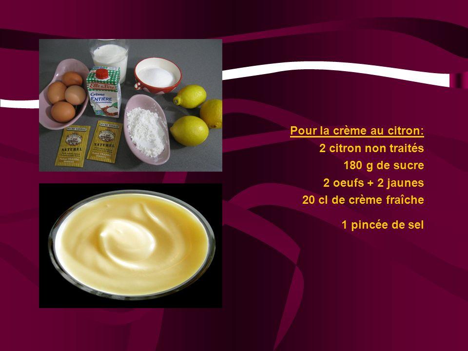 Pour la crème au citron: 2 citron non traités 180 g de sucre 2 oeufs + 2 jaunes 20 cl de crème fraîche 1 pincée de sel