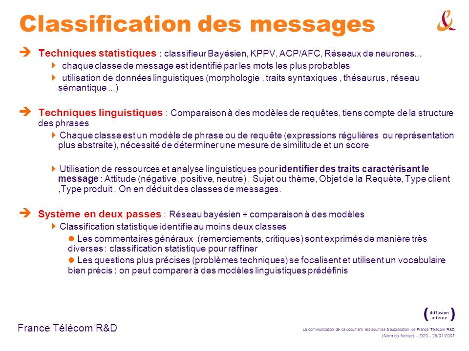 La communication de ce document est soumise à autorisation de France Télécom R&D (Nom du fichier) - D20 - 26/07/2001 France Télécom R&D Classification