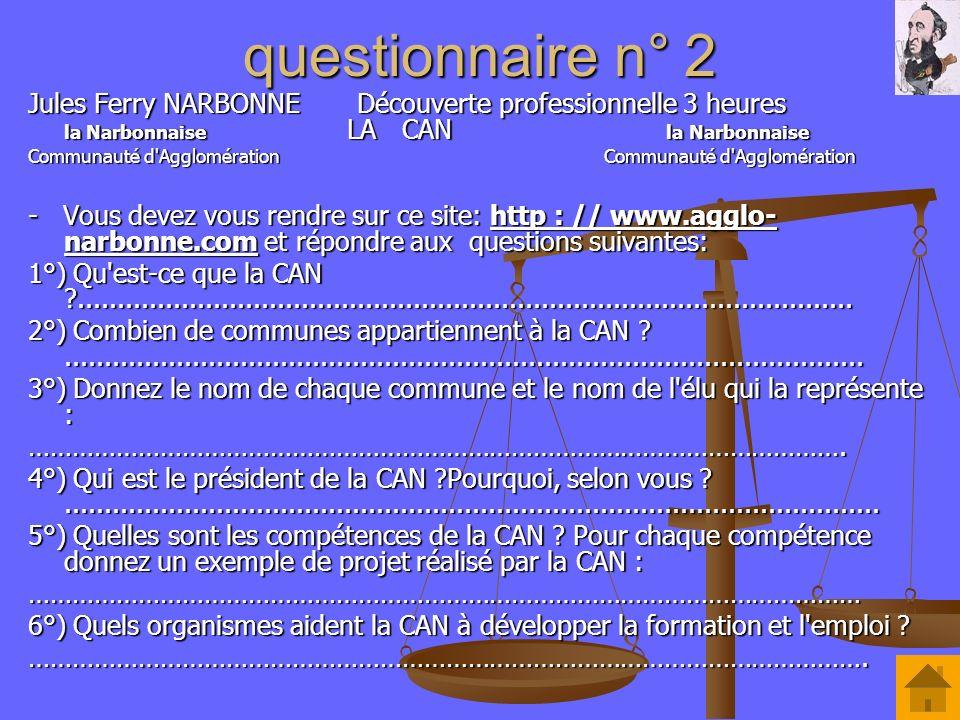 questionnaire n° 2 Jules Ferry NARBONNE Découverte professionnelle 3 heures la Narbonnaise LA CAN la Narbonnaise Communauté d'AgglomérationCommunauté