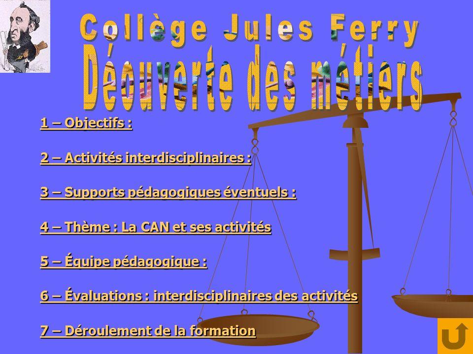 Option facultative « découverte des métiers » niveau 3ème : Collège Jules Ferry 1 – Objectifs : Ouvrir lécole sur lentreprise.