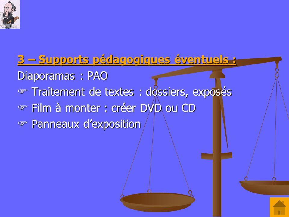 3 – Supports pédagogiques éventuels : Diaporamas : PAO Traitement de textes : dossiers, exposés Traitement de textes : dossiers, exposés Film à monter