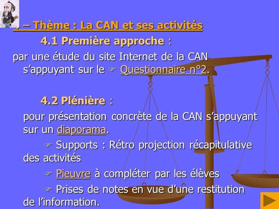 4 – Thème : La CAN et ses activités 4.1 Première approche : par une étude du site Internet de la CAN sappuyant sur le Questionnaire n°2. Questionnaire