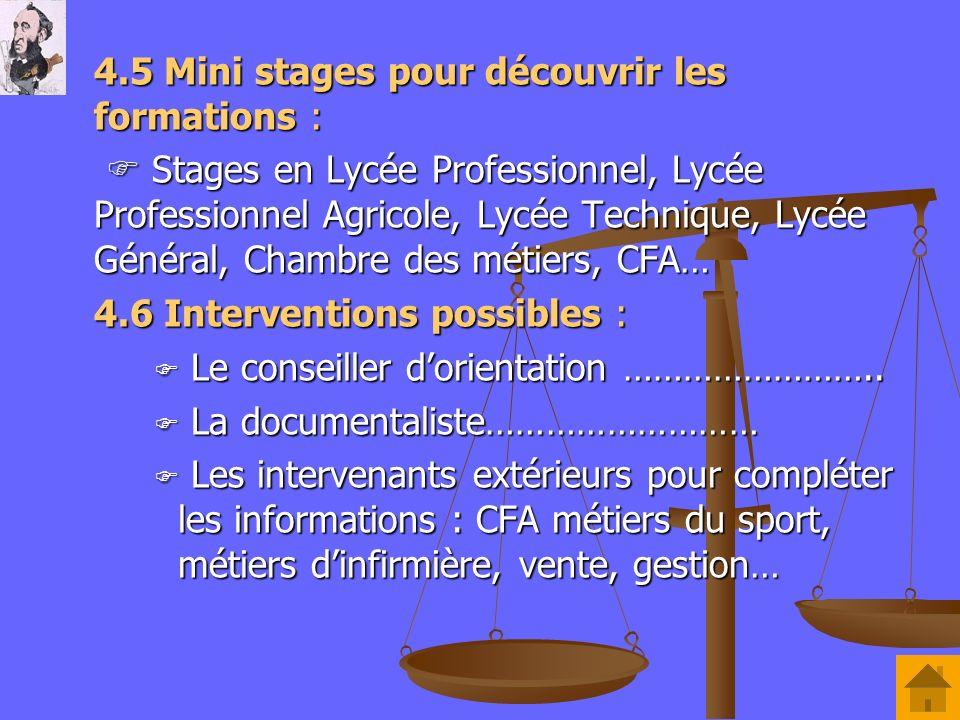 4.5 Mini stages pour découvrir les formations : Stages en Lycée Professionnel, Lycée Professionnel Agricole, Lycée Technique, Lycée Général, Chambre d