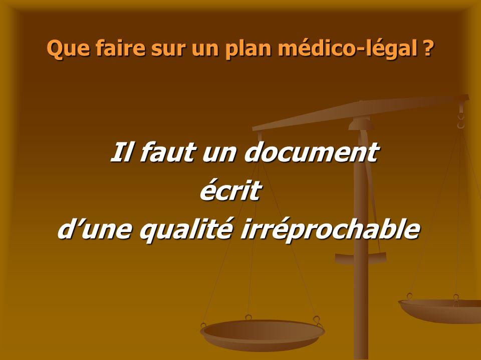 Que faire sur un plan médico-légal ? Il faut un document Il faut un document écrit écrit dune qualité irréprochable dune qualité irréprochable