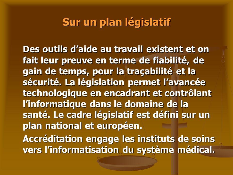 Sur un plan législatif Des outils daide au travail existent et on fait leur preuve en terme de fiabilité, de gain de temps, pour la traçabilité et la