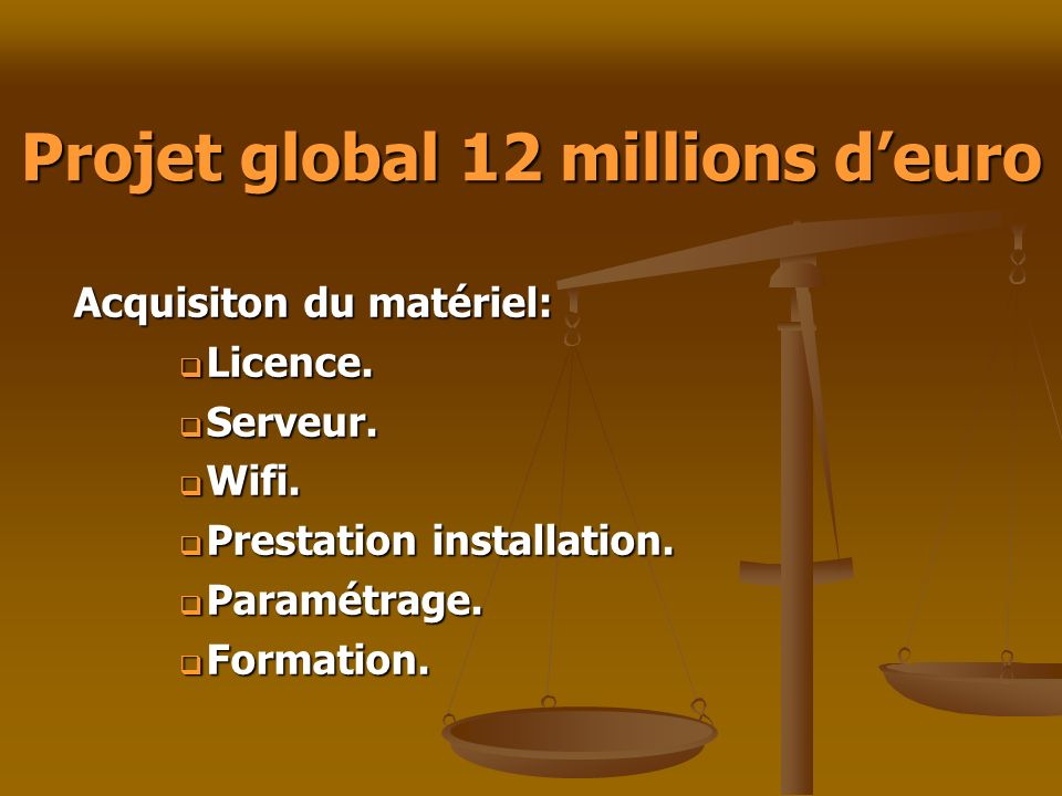 Projet global 12 millions deuro Acquisiton du matériel: Licence. Licence. Serveur. Serveur. Wifi. Wifi. Prestation installation. Prestation installati