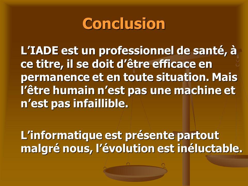 Conclusion LIADE est un professionnel de santé, à ce titre, il se doit dêtre efficace en permanence et en toute situation. Mais lêtre humain nest pas