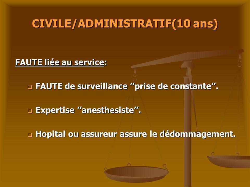 CIVILE/ADMINISTRATIF(10 ans) FAUTE liée au service: FAUTE de surveillance prise de constante. FAUTE de surveillance prise de constante. Expertise anes